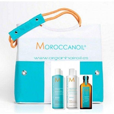 Moroccanoil Bolso de Playa Basic Care  Incluye:  Champú Reparador Hidratante 250 ml  Acondicionador Reparador Hidratante 250 ml  Aceite de Tratamiento Moroccanoil 100 ml