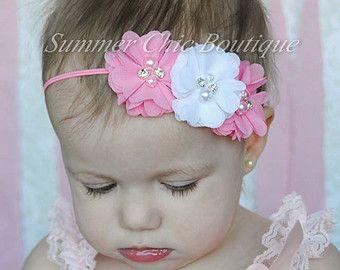 Items similar to Baby Headband : Girls Headband Chiffon Rosette Headband Vintage Inspired Headband Rosette Infant Headband Ribbon Rosette NO.14-22 on Etsy