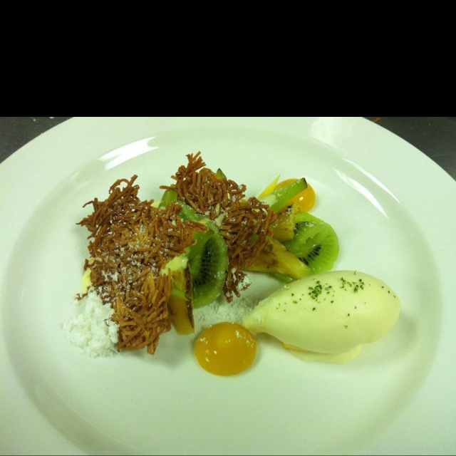 coconut tuile, tropical fruit, coconut sabyon, mango curd and passion ...