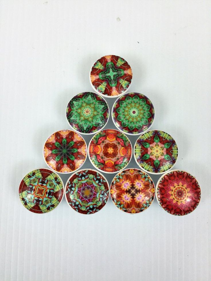 "Set of 10 fiesta del sol mandala print wood knobs are 1.5"" wide and have been painted white with a decoupage mandala pattern Photo 1 is Set 1 Photo 2 is Set 2 S"