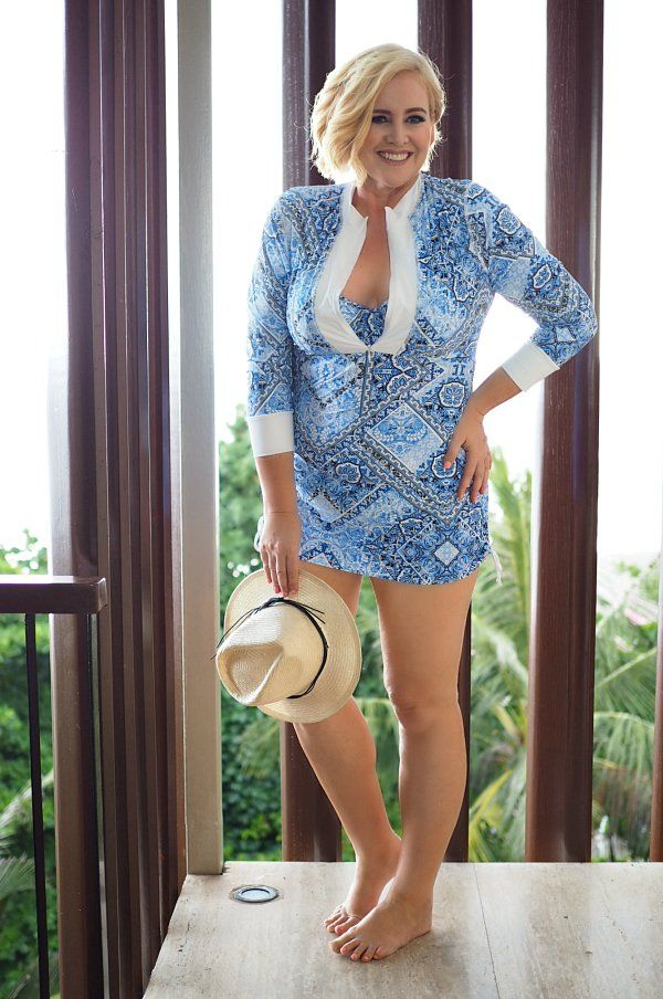 Capriosca long rash vest, bikini top and pant | Carolyn Unwin hat