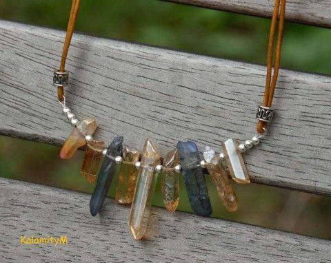 Paprsky-náhrdelník křišťál aquaaura náhrdelník dárek paprsky křišťál aqua-aura