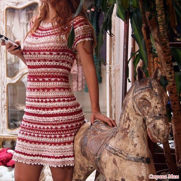 Striped Sampler Dress free crochet graph pattern