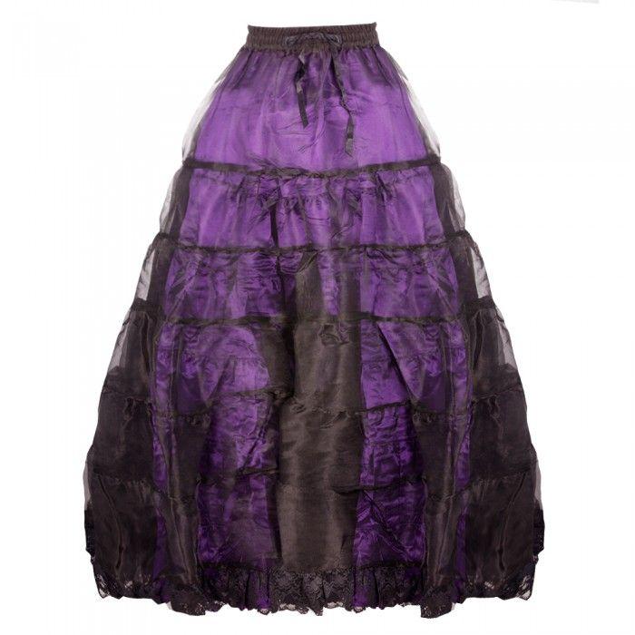Purple Long Organza Skirt with Satin Lining