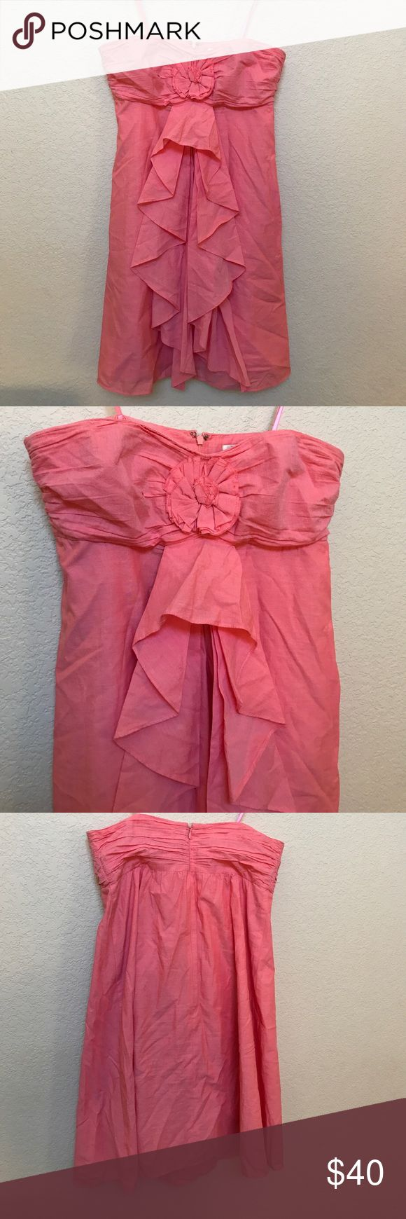 JCrew strapless dress Very cute strapless dress. Color is like a peach/salmon colored pink. Bra straps inside to add support. 100% cotton. Worn only a handful of times. Excellent used condition. JCrew Dresses