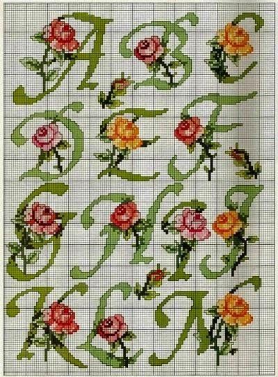 Χειροτεχνήματα: Μονογράμματα με τριαντάφυλλα για κέντημα / Rose cross stitch monograms