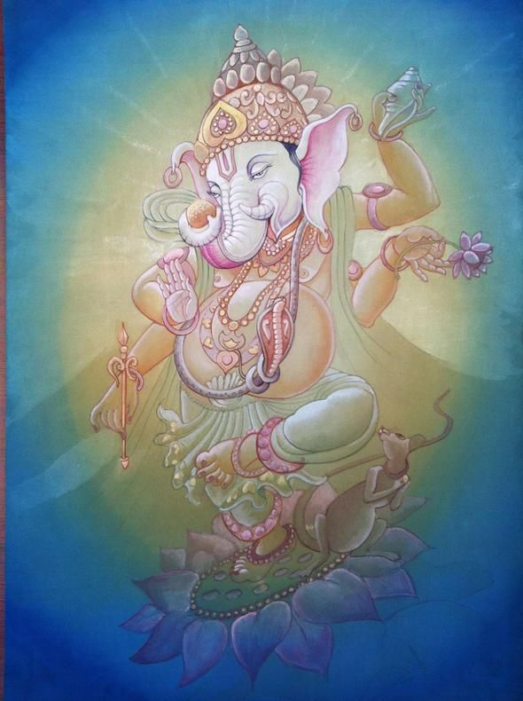 Ganesh painted by Daya Ma during the Sacred Painting India Trip in Haridwar last year! http://www.sacredmotherarts.com/india-trip.html