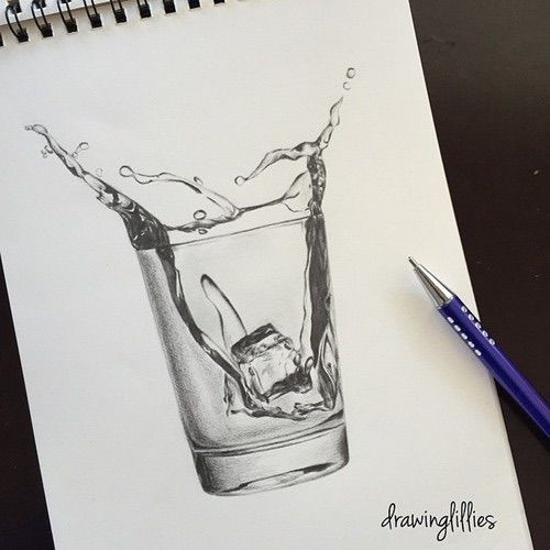 Image via We Heart It https://weheartit.com/entry/167206785/via/27437386 #art #cube #drawing #glass #ice #sketch #water