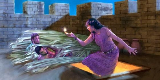 Rahab comes up to the roof where the spies are hiding