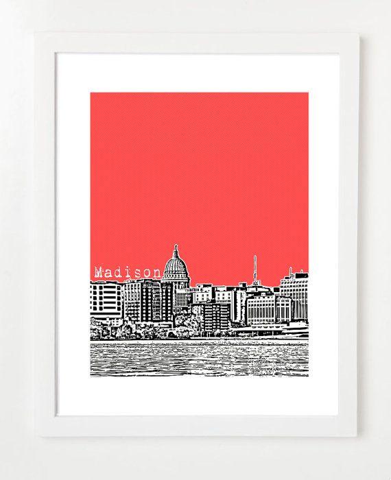 Madison Wisconsin Skyline  - 8x10 City Skyline Art Print - Madison, WI on Etsy, $20.00