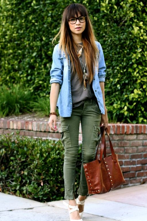 love denim shirt with colored pants and baggy shirt -- comfortable
