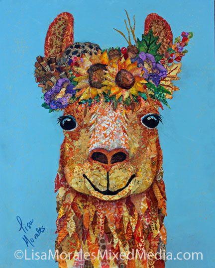 Autumn Llama - Mixed Media Collage by Lisa Morales