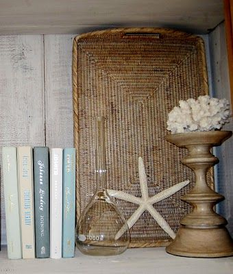 Seashells and books . . .Want to put this Pin to use?  Come visit #Tidalwalk for more #DreamHome Inspiration!
