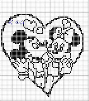 Schema punto croce Cuore-minnie-topolino
