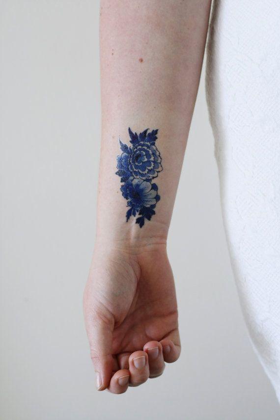 Delfter blau Tätowierung / floral temporäre tattoo / von Tattoorary