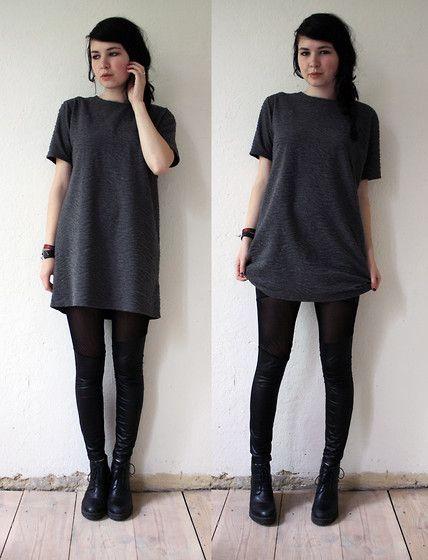 Nowistyle Short Sleeve Grey Tunic Dress, Vagabond Boots, Black Leggings, Bracelets | fall autumn style