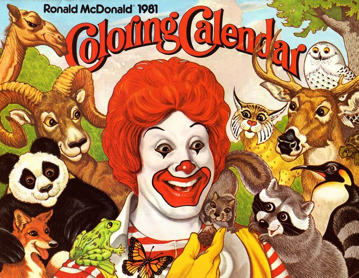 Ronald McDonald Coloring Calendars