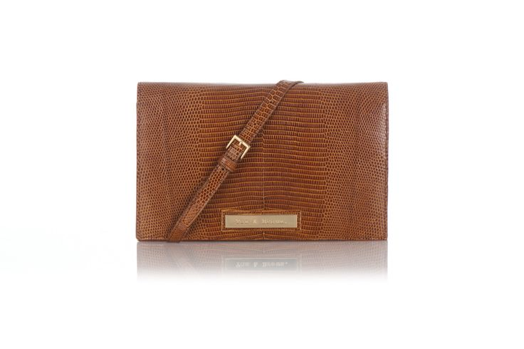 Tan and Brown Clutch in Desert Lizard Leather – Tan & Brown