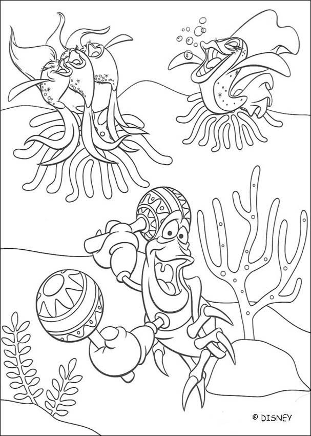 the little mermaid coloring pages maracas and sebastian - Sebastian Crab Coloring Pages
