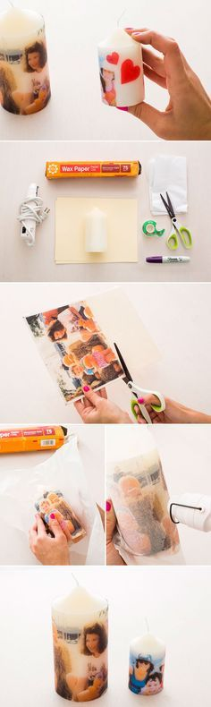 Use tissue paper to make personalized candles for Mother's Day.