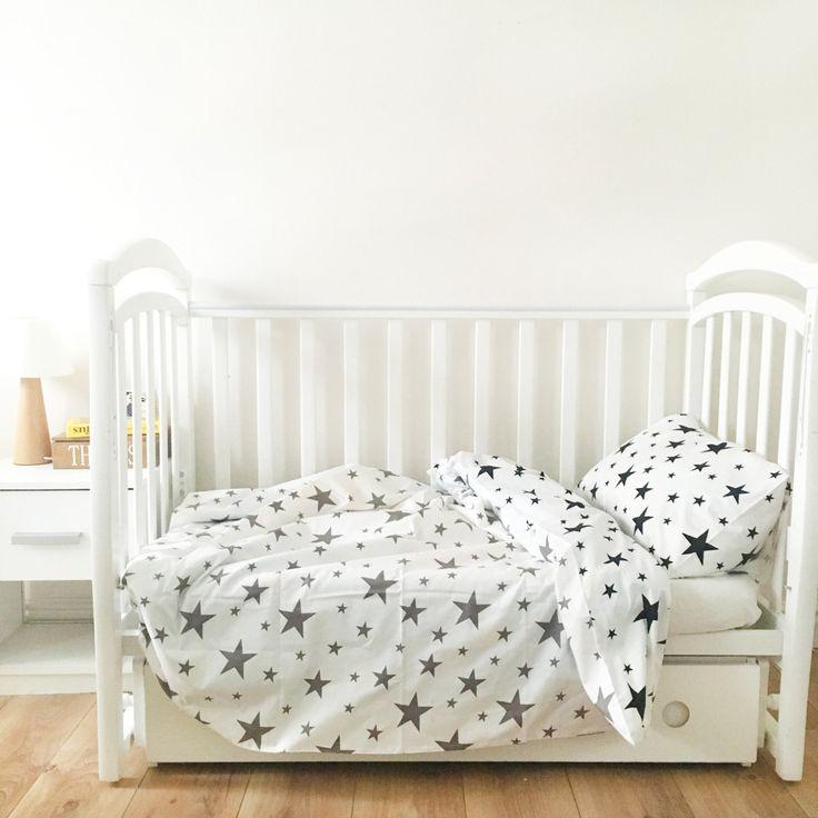 Baby Bedding - Nursery Bedding Set - Black Stars Bedding - Baby Bedding Crib - Unique Bed Clothing - Handmade Bedding Set - Black And White by KarambaKids on Etsy