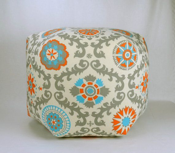 "27"" Wide By 20"" Tall Floor Ottoman Pouf Pillow Mandarin Blue, Teal, Orange, Gray & Natural - Rosa Damask Contemporary Modern Print"