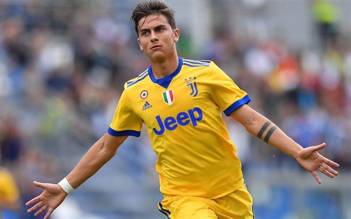 Download wallpapers 4k, Paulo Dybala, goal, Juve, Juventus, football stars, Italy, Serie A, footballers