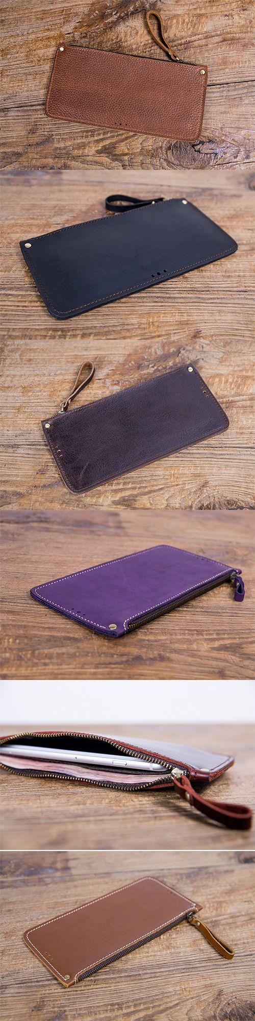 Handmade leather vintage women long wallet clutch zip phone purse wallet
