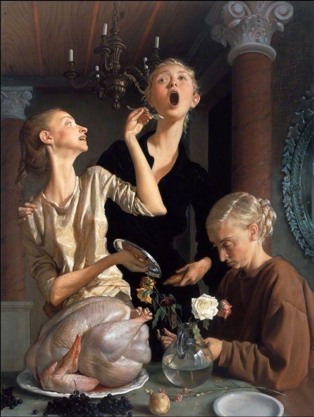 John Currin Thanksgiving - 2003 Oil on Canvas 172.7 × 132.1 cm