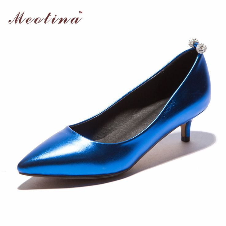 Meotina Women Shoes Pointed Toe Med Heels Comfort Office Lady Work Shoes Women Pumps Ladies Heels Red Sliver Big Size 42 43