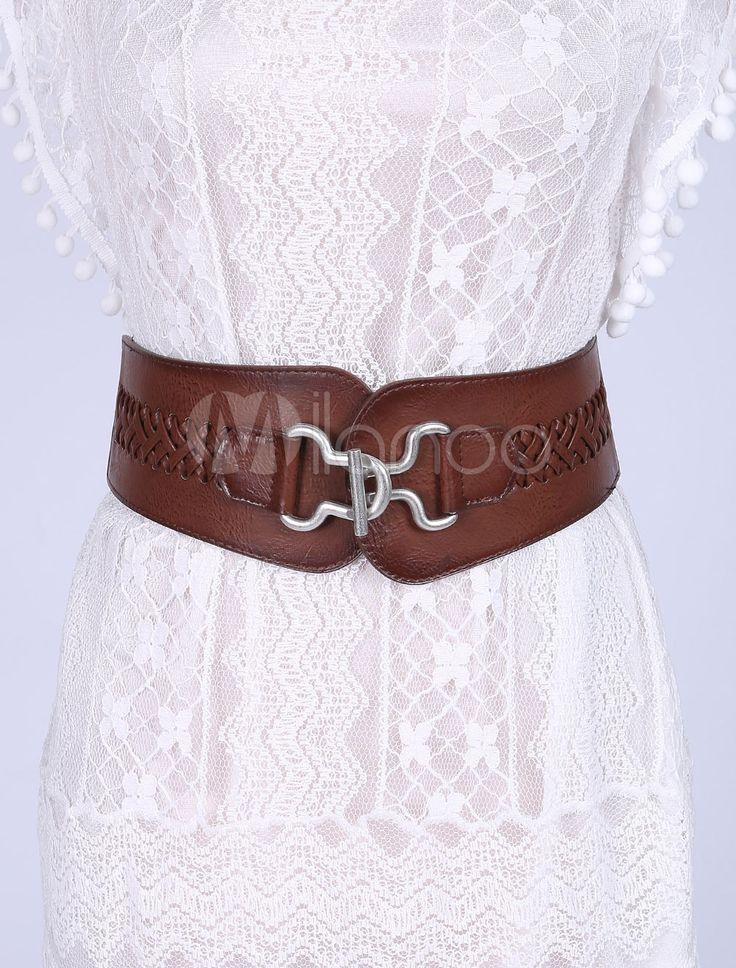 Ceintures de taille large élastique cuir Corset ceinture Vintage femmes tresses avec serrure argent - boutique.milanoo