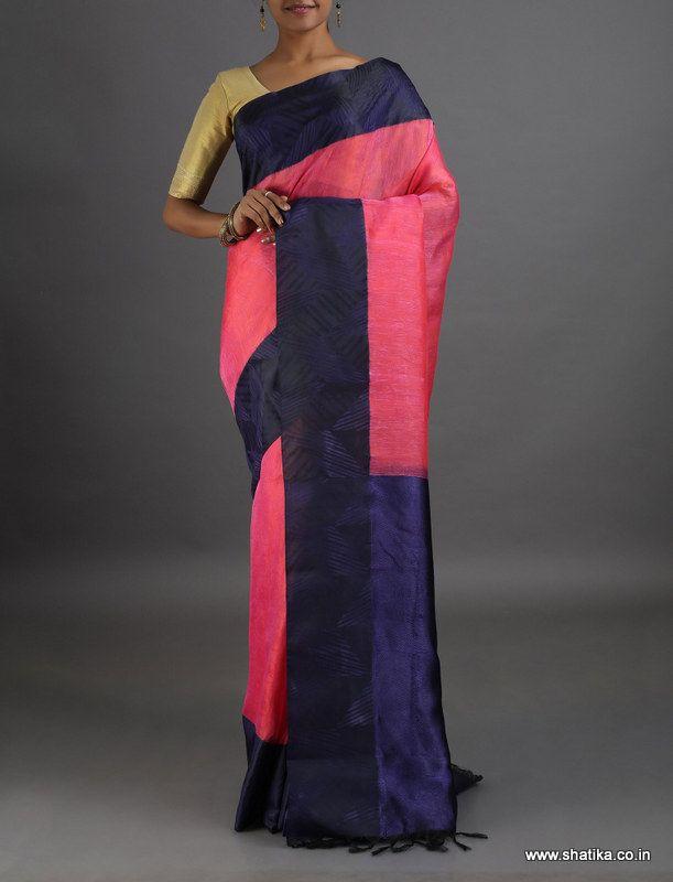 Jyotika Bright Plain Self-Designed Border #LinenSilkSaree