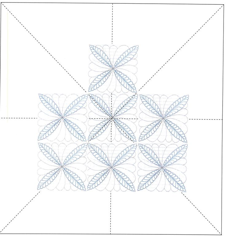 Wholecloth quilt design created by repeating medallion