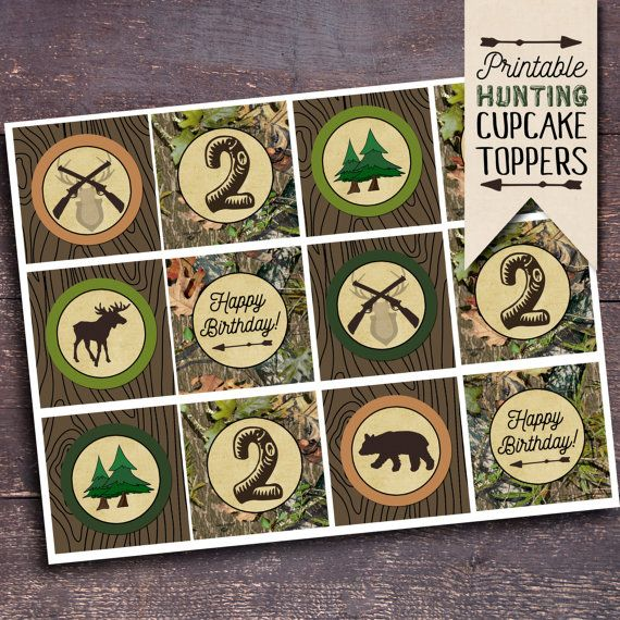 Hunting Themed Party, Hunting Party Ideas, Hunting Party Decorations, Hunting Birthday Party, Hunting Cupcake Toppers