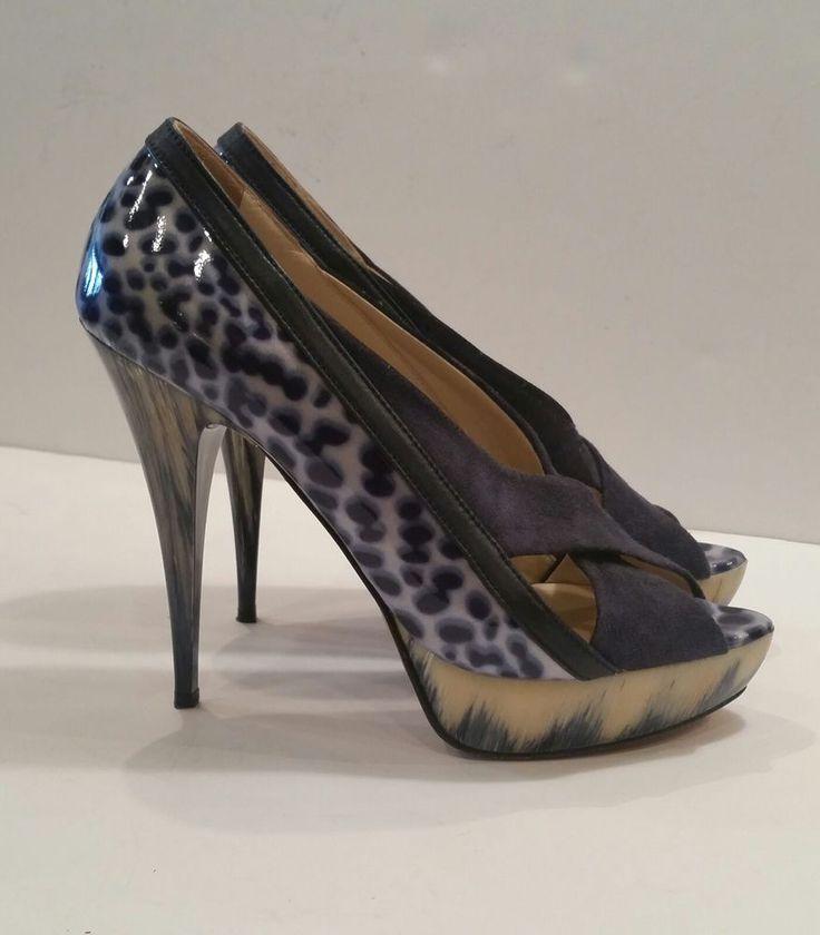 Angeleigh Anastasio Blue Suede Crisscross Leopard Peep Toe Platform Pumps 37/6.5 #AngeleighAnastasio #StilettoOpenToePlatformPumps #FestiveClubPartyProm