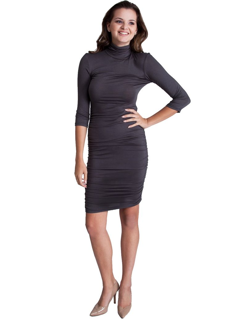 ruched side turtleneck dress d4471dg clothing clothes
