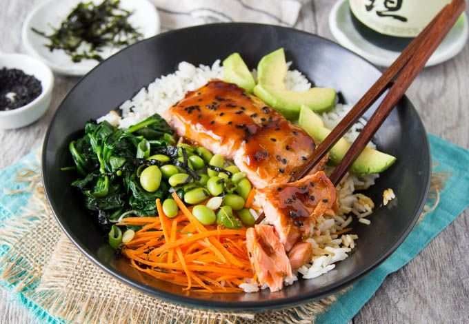 Skip the bottled teriyaki sauce you can make your own in less than 5 min. and it's SO much tastier! This quick and easy healthy meal is perfect for weeknights or anytime. No need for teriyaki take-out this  Teriyaki Salmon Bowl is so simple to put together. Heart healthy salmon (or sub chicken) gets smothered... Read More »