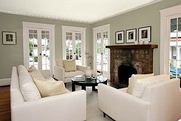 "Benjamin Moore Color...""gray horse."" A green-toned gray that will highlight nature if used in an open, airy room."