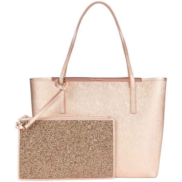 Ted Baker Jasmena Large Leather Shopper Bag , Rose Gold (€235) ❤ liked on Polyvore featuring bags, handbags, tote bags, rose gold, leather shopper, leather purse, tote e white purse