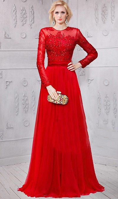 4ecb46e6021a A Line High Neck Red Chiffon Lace Beaded Long Sleeve Evening Prom Dress
