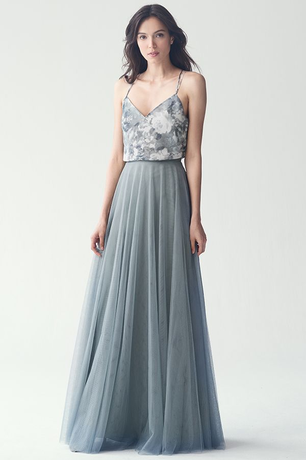 Jenny yoo bridesmaid dress floral blue