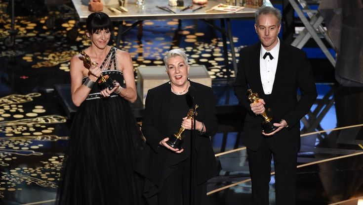2016 winners of Best Makeup and Hairstyling, Australians Lesley Vanderwalt, Elka Wardega and Damian Martin accepting their Oscars for George Miller's 'Max Mad: Fury Road'.  Photo: Getty