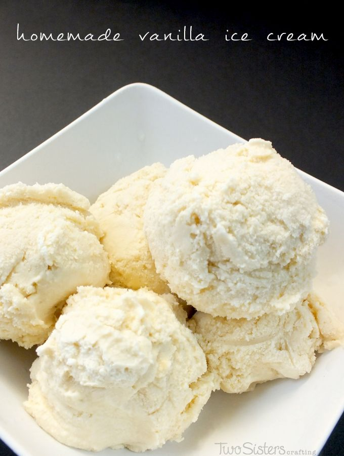 Homemade Vanilla Ice Cream - we've finally found the perfect vanilla ice cream recipe.  And for more great dessert ideas follow us at http://www.pinterest.com/2SistersCraft/