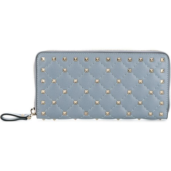 Valentino Garavani Matelassé Leather Continental Wallet (£480) ❤ liked on Polyvore featuring bags, wallets, grey, valentino bag, leather zipper wallet, genuine leather wallet, metallic wallet and grey leather bag