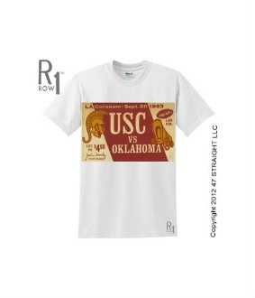 http://www.shop.47straightposters.com/63-OKLAHOMA-VS-USC-Vintage-Football-Tee-63OKUSC.htm OU football tickets. 1963 OU vs. USC Football Ticket Tee from ROW 1.™