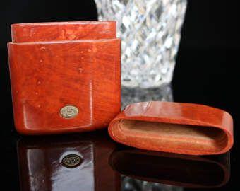 Vintage Cigarette Case, Handmade of Thorn Bush Wood, Brown Hard-Case Cigarette Dispenser, Brandi - Italy / Mid Century Tobacciana