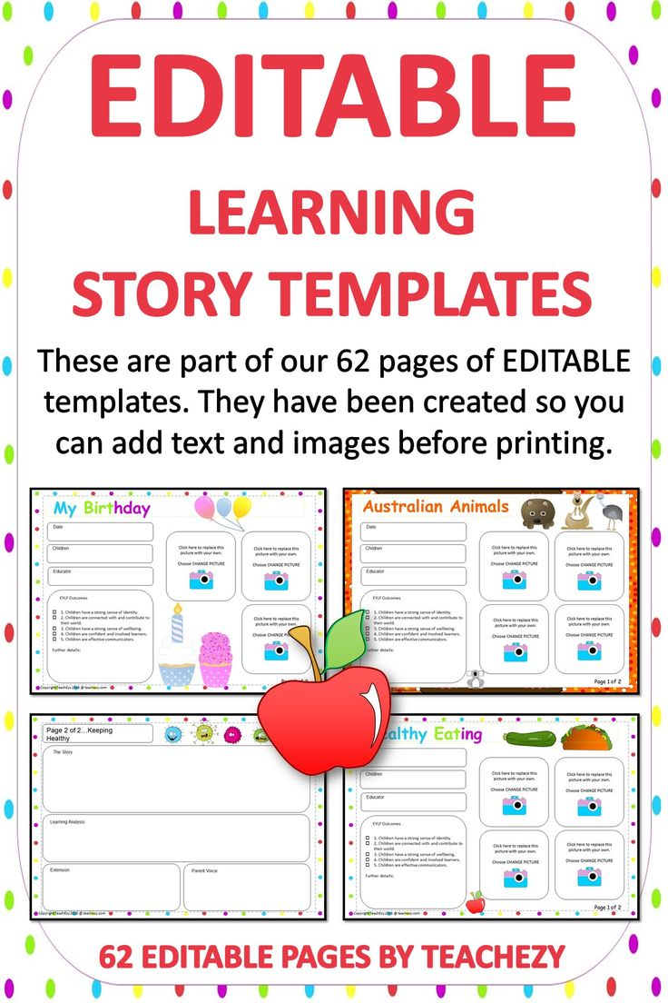 editable learning story templates  due to popular demand