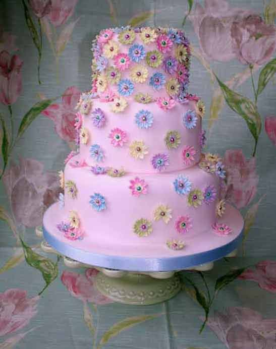 Wedding Cakes  Multi Coloured Daisy cakepins.com