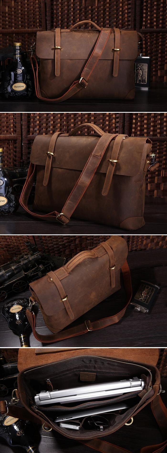 """Handmade Vintage Leather Briefcase / Leather Messenger Bag / 13"""" 15"""" MacBook 13"""" 14"""" Laptop Bag"""