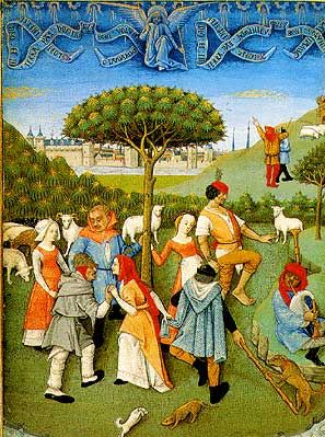 Several variants on peasant dress. [Dancing shepherds, The Book of Hours of Charles d'Angouleme, late 15th century]